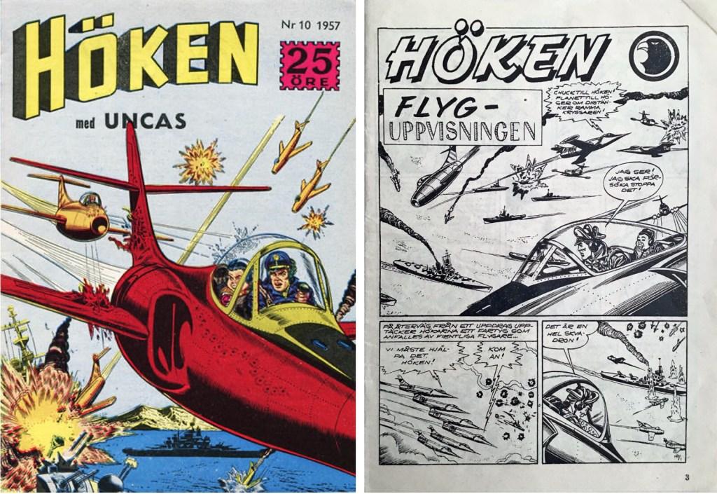 Omslag till Höken nr 10, 1957 och inledande sida ur Höken-serien. ©Formatic/EuropaPress