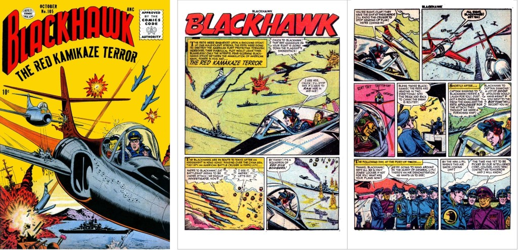 Omslag till Blackhawk #105 och inledande uppslag ur episoden The Red Kamikaze Terror. ©Quality/Comic Favorites