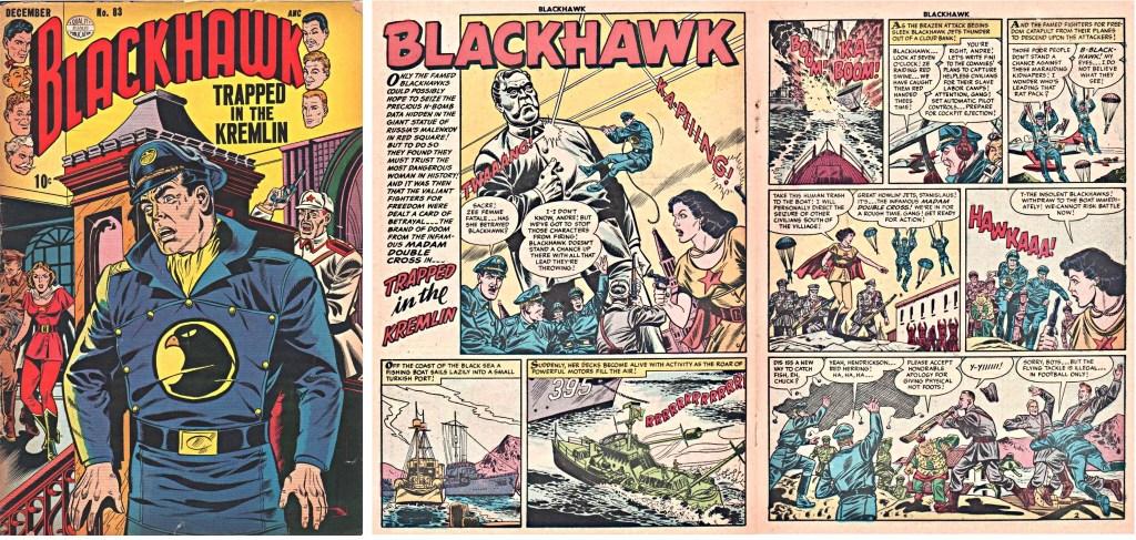 Omslag till Blackhawk #83 och inledande uppslag ur episoden Trapped in the Kremlin. ©Quality/Comic Favorites
