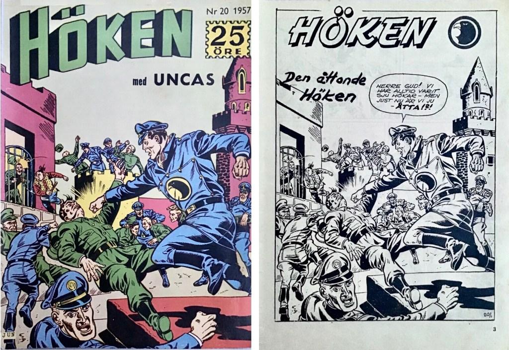 Omslag till Höken nr 20, 1957 och inledande sida ur Höken-serien. ©Formatic/EuropaPress