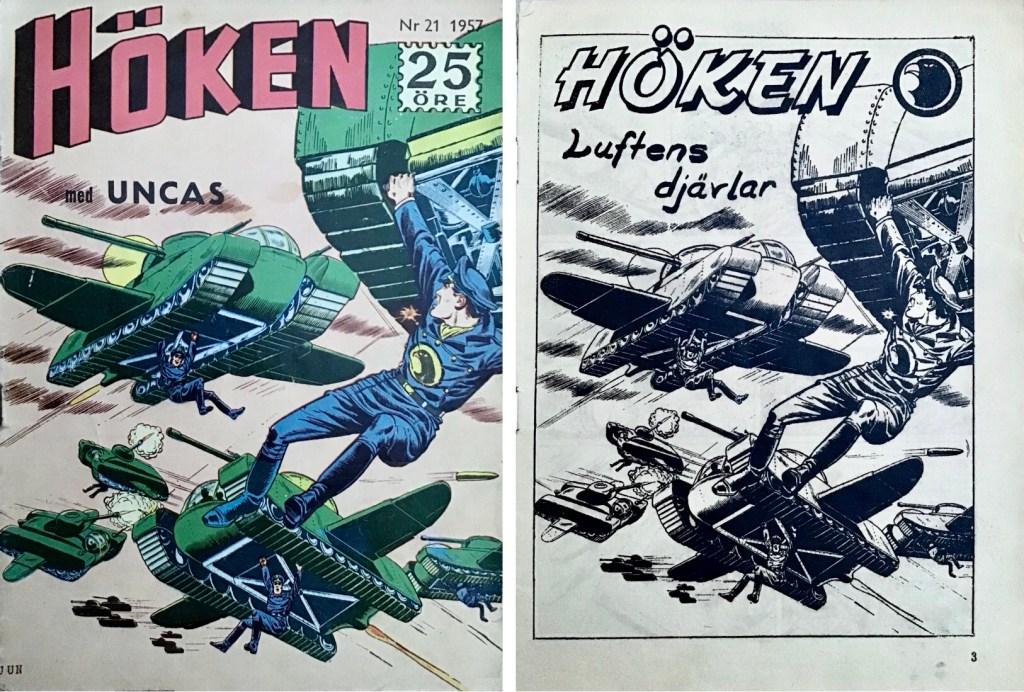 Omslag till Höken nr 21, 1957 och inledande sida ur Höken-serien. ©Formatic/EuropaPress