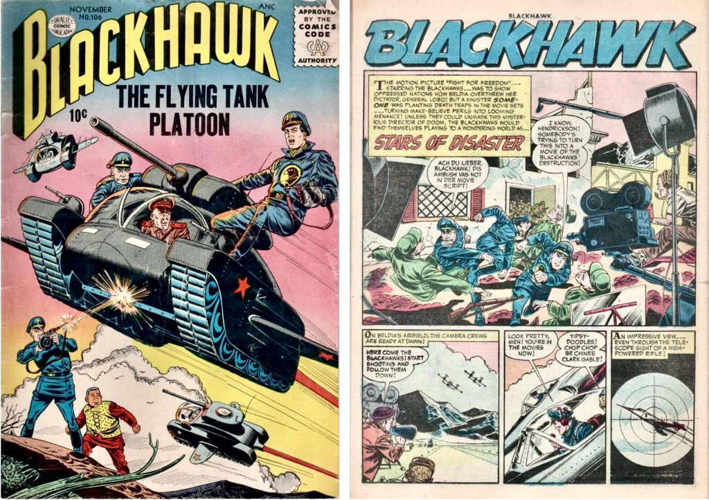 Omslag till Blackhawk #106 (1956) och inledande sida ur episoden Stars of Disaster. ©Quality/Comic Favorites