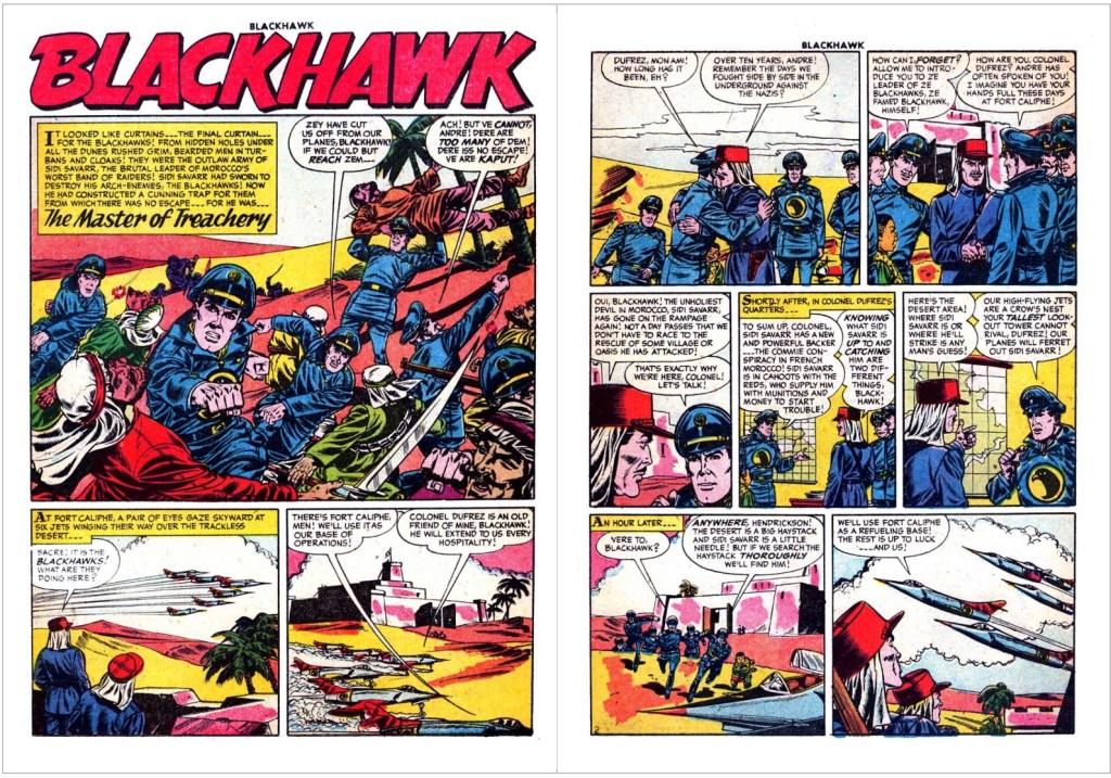 Inledande uppslag med episoden The Master of Treachery ur Blackhawk #105 (1956). ©Quality/Comic Favorites