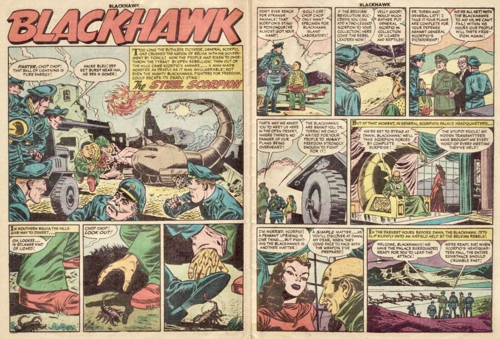 Inledande uppslag med episoden The Steel Scorpion ur Blackhawk #100 (1956). ©Quality/Comic Favorites