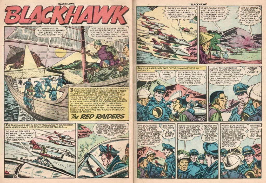 Inledande uppslag med episoden The Red Raiders ur Blackhawk #106 (1956). ©Quality/Comic Favorites