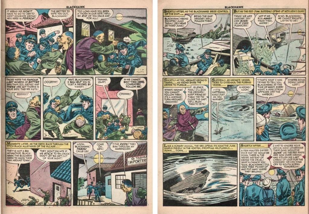 Den fjärde och sista sidan i episoden The Red Raiders ur Blackhawk #106 (1956). ©Quality/Comic Favorites