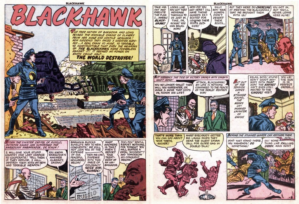 Inledande uppslag med episoden The World Destroyer ur Blackhawk #61 (1953). ©Quality/Comic Magazine