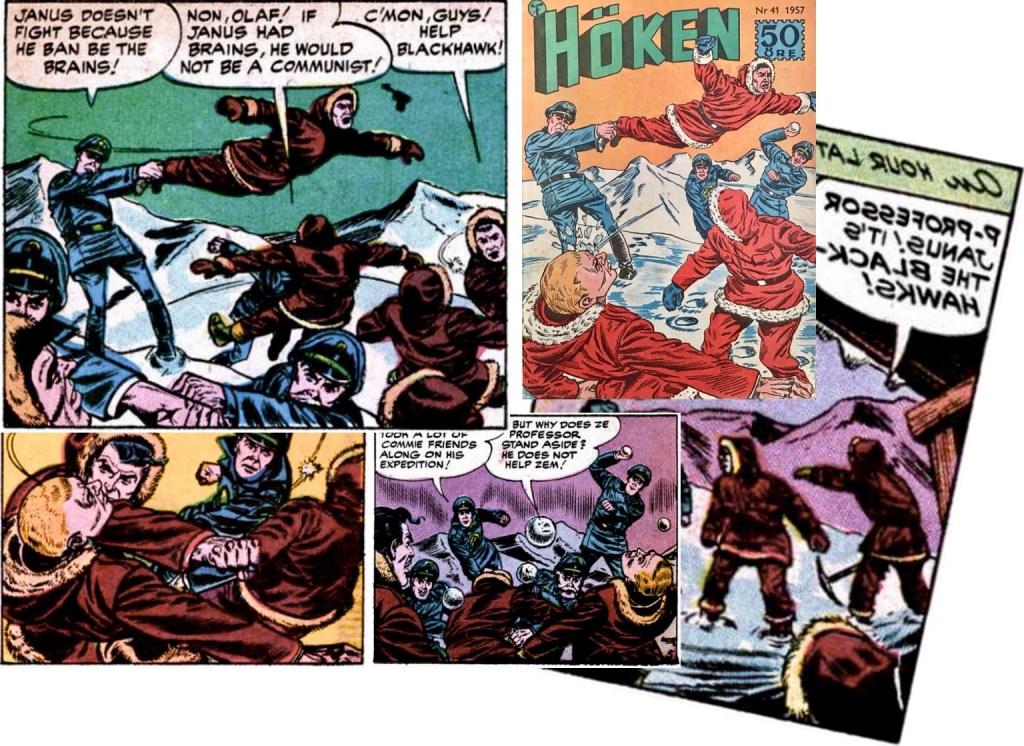 Omslaget till Höken nr 41/57 baserar sig på ett collage av olika serierutor från femte och sjätte sidan i episoden. ©Formatic/Quality/Comic Favorites