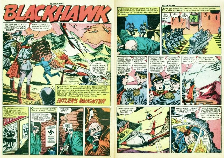 Inledande uppslag ur episoden Hitler's Daughter från Blackhawk #97 (1956). ©Quality/Comic Favorites