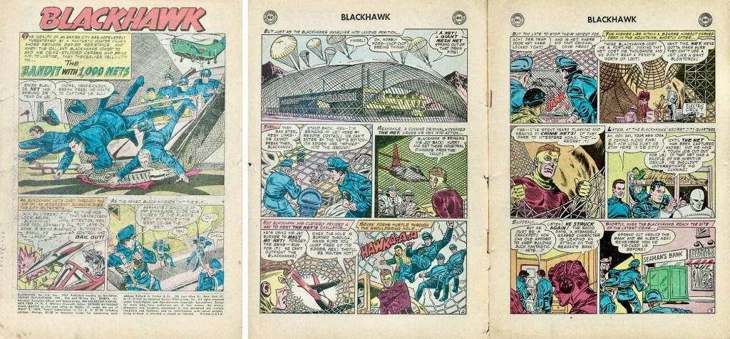 Inledande sidor med episoden The Bandit With 1,000 Nets ur Blackhawk #118 (1957). ©DC
