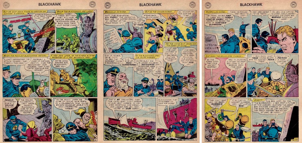Avslutande sidor med episoden The Menace of the Dragon Boat ur Blackhawk #117 (1957). ©DC
