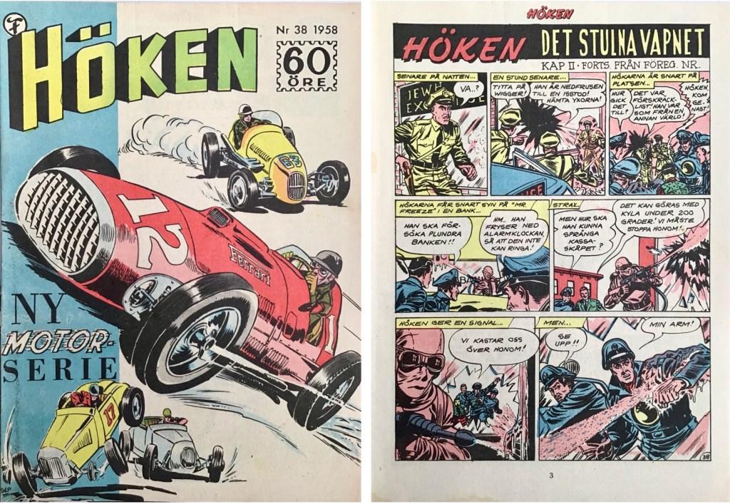 Omslag till Höken nr 38, 1958 och inledande sida ur Höken-serien. ©Formatic/EuropaPress