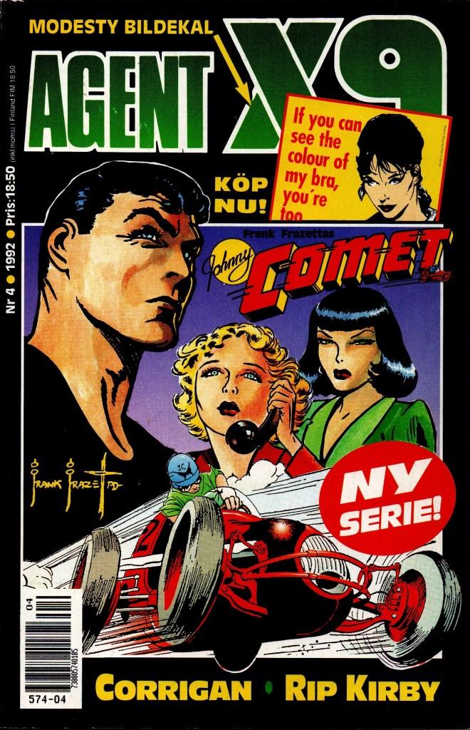 """Frank Frazetta i Agent X9 1992 blev introducerad med denna artikel om serien """"Johnny Comet""""."""