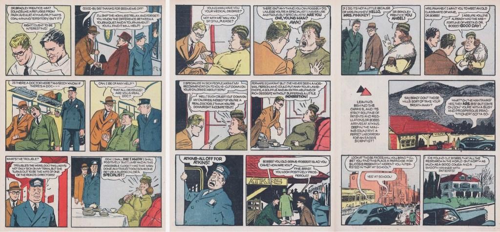 Motsvarande sidor i original, i återtryck från dagsstrippar i Popular Comics #98 (april 1944). ©Dell/KFS