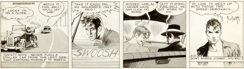 Original till en dagsstripp med Johnny Comet av Earl Baldwin och Frank Frazetta, från 12 februari 1952. ©McNaught