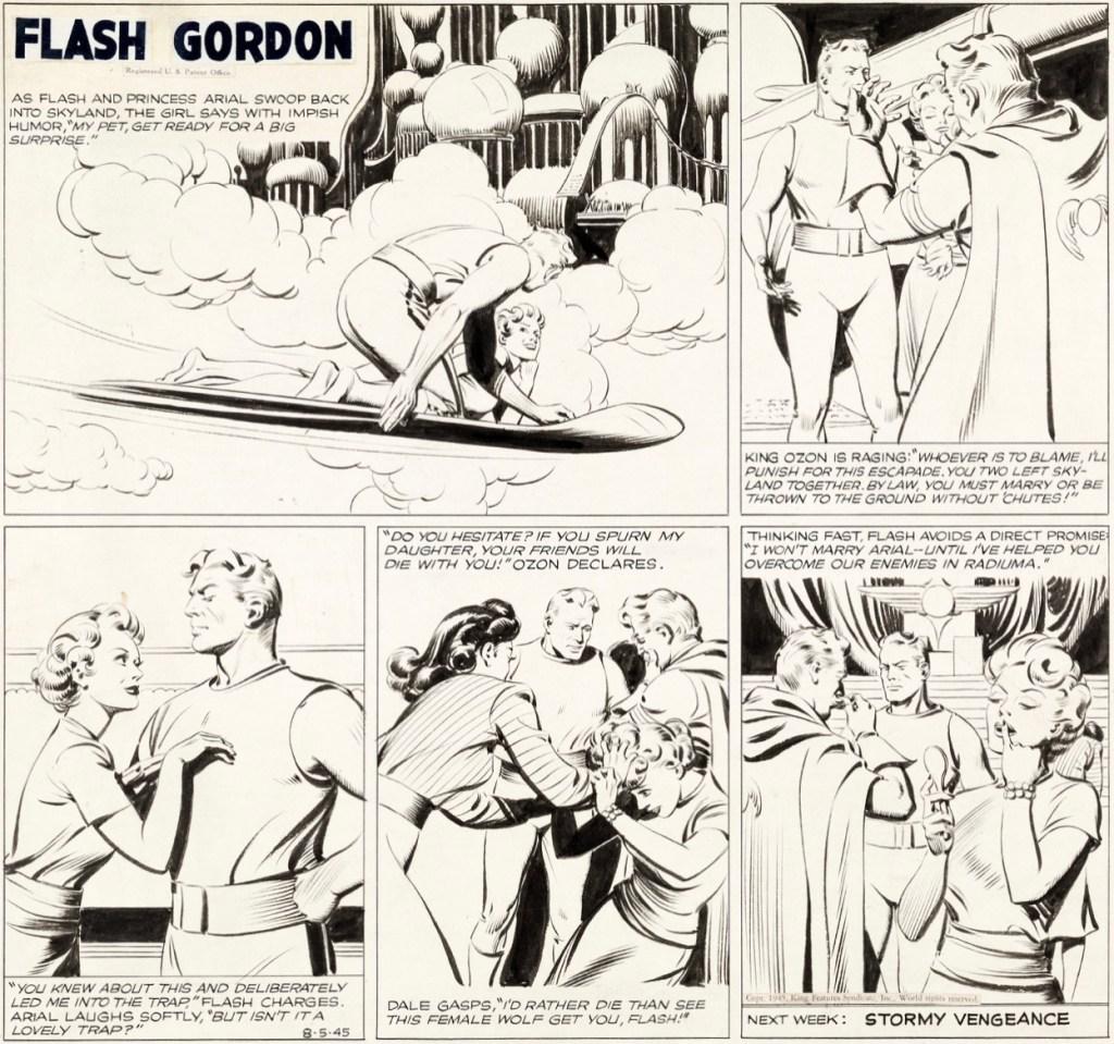 Original till en söndagsstripp ab Austin Briggs med Flash Gordon från 5 augusti 1945. ©KFS