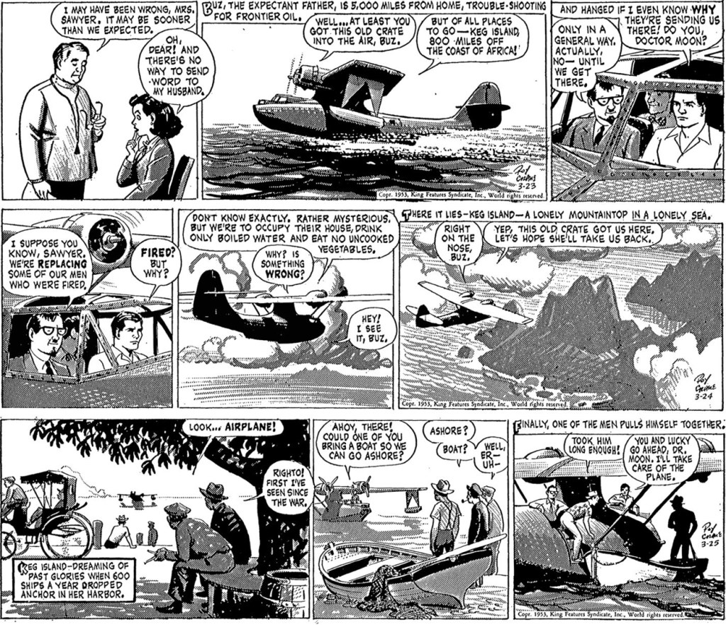 Motsvarande strippar i original ur episoden Island of the Lotus Eaters, från 23-25 mars 1953, inklusive en dagsstripp som saknades i Buzz Cooper.  ©KFS