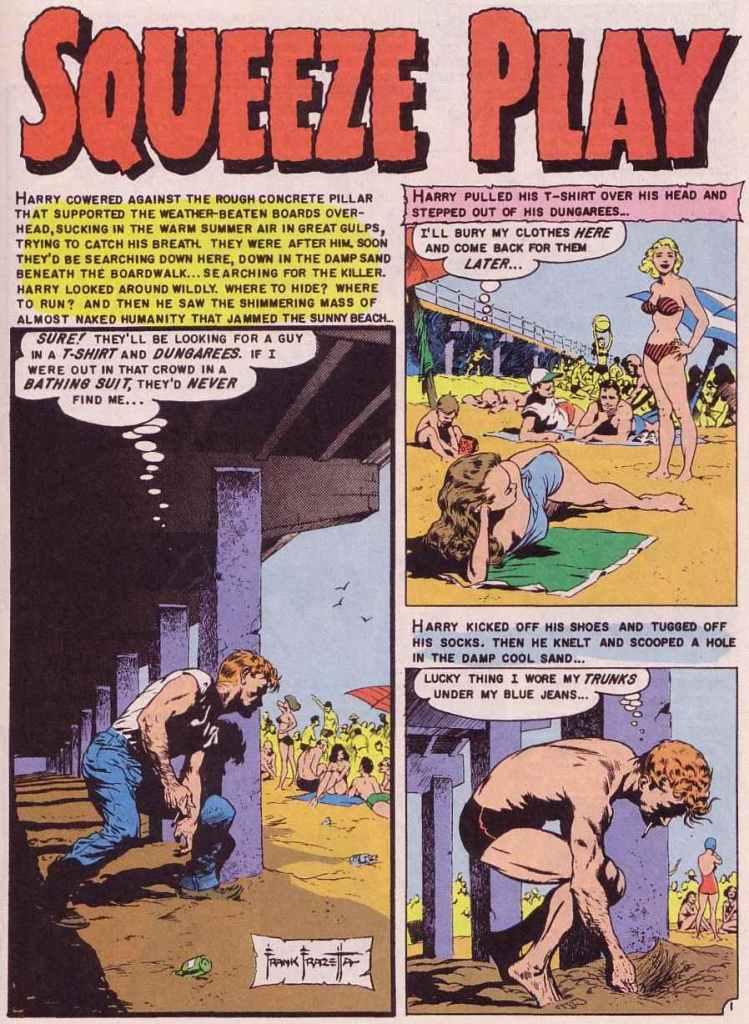 Squeeze play. Frazettas enda egna serie åt EC, ur Shock SuspenStories #13 (mars 1954). ©EC Comics