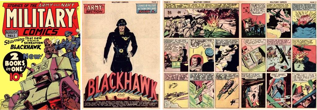 Omslag till Military Comics #1 (1941). och inledande sidor med Blackhawk. ©Quality/Comic Magazines