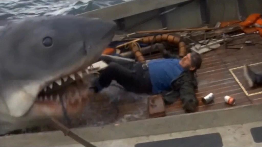 Ur scenen när kapten Quint möter döden i Hajen (Jaws, 1975). ©Universal