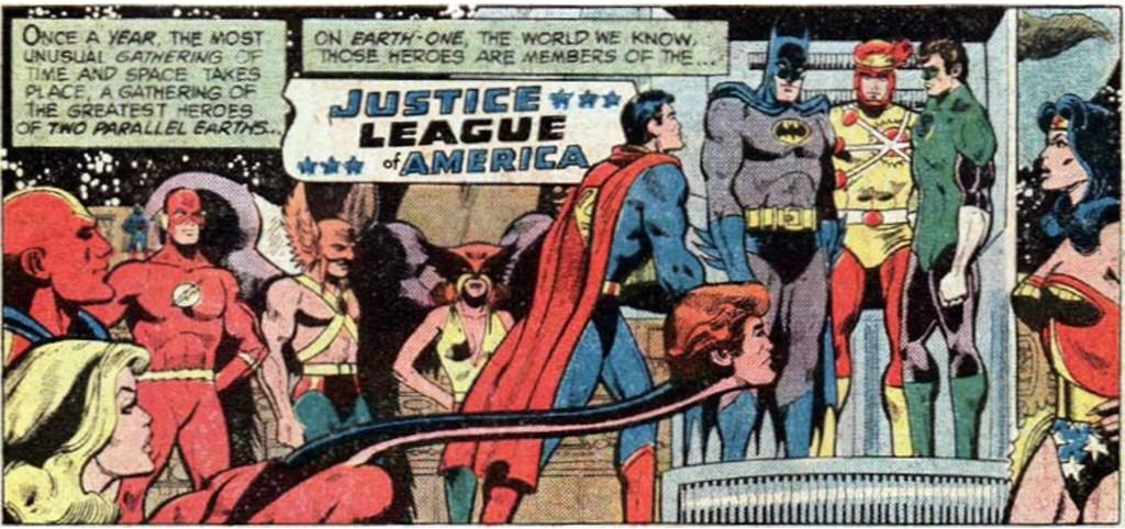 Inledande serieruta ur JLA #183 tecknad av Dick Dillin (skiss) och Frank McLaughlin (tusch). ©DC/National