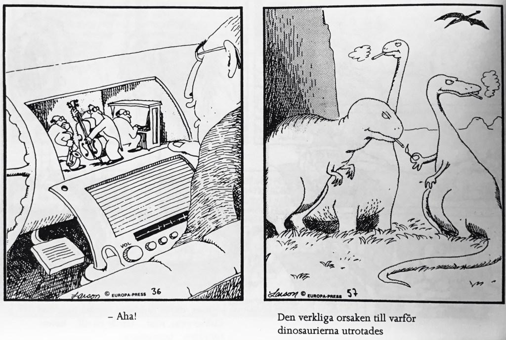 Ett par skämtteckningar av Larson ur nya Comics (1993). ©EuropaPress/Universal