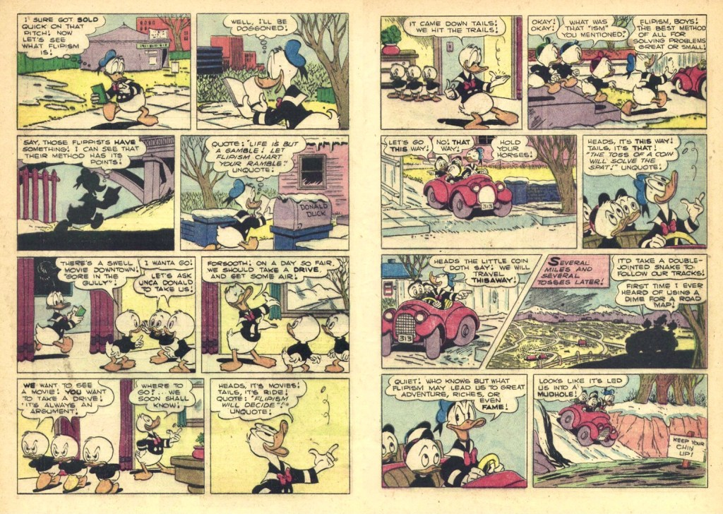 Motsvarande uppslag ur Walt Disney's Comics and Stories #149 (1953). ©Disney