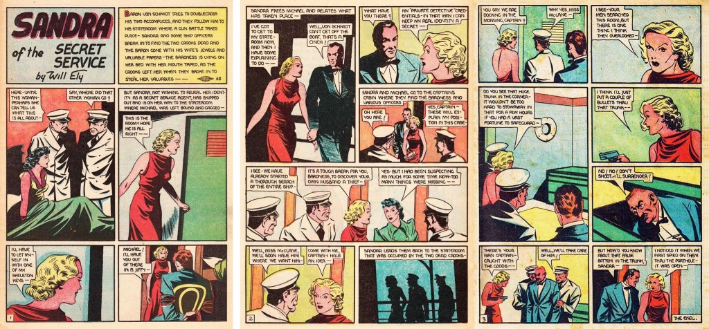 Slutet av episoden Sandra's Vacation ur More Fun Comics #31 (1938). ©National Allied
