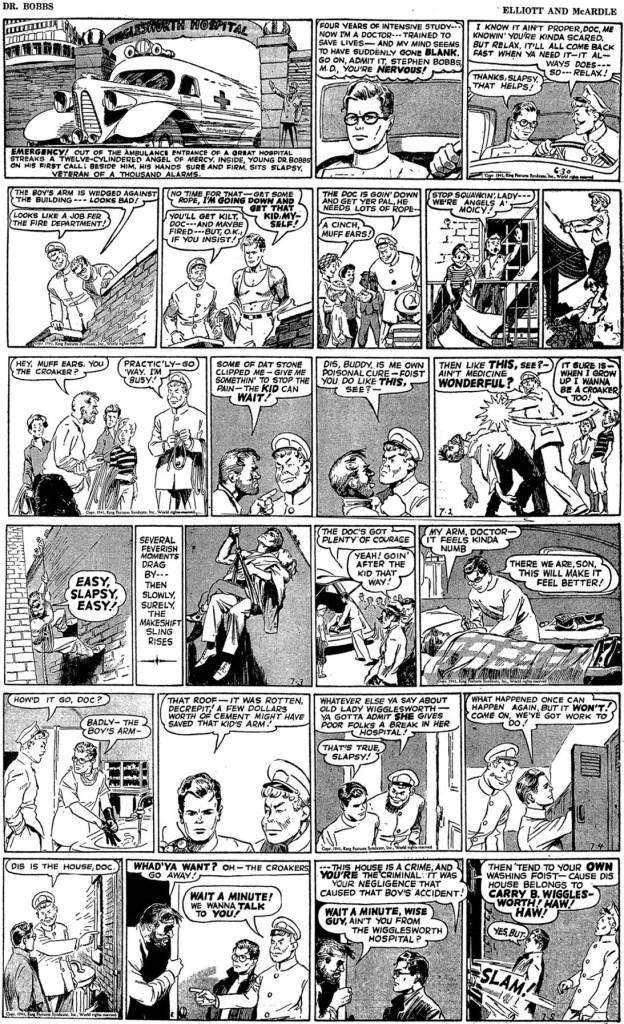 Dagsstrippar med Dr. Bobbs ur första veckan av serien, från 30 juni till 5 juli 1941. ©KFS
