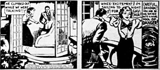 Sandra var redo att på impuls kasta sig ut i nya äventyr, som ett par serierutor ur New Fun #2 (1935) visar. ©National Allied
