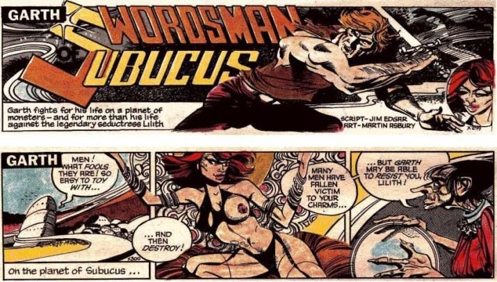 Två dagsstrippar ur den 133:e episoden med Garth, av Jim Edgar (manus) och Martin Asbury (teckningar), stripparna X299-300 (15-16 december 1989). ©Daily Mirror