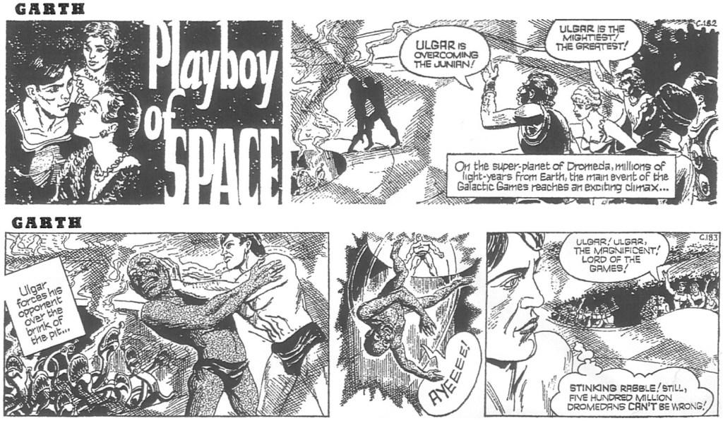 Två dagsstrippar ur inledningen av den den 61:a episoden med Garth, av Jim Edgar (manus) och John Allard (teckningar), stripparna C182 och C183, från 2 och 3 augusti 1969. ©Daily Mirror