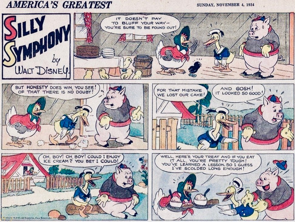 Silly Symphony ur en halvsida söndag den 4 november 1934. ©Disney