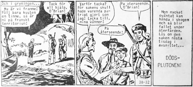 Den avslutande sidan ur Prärieserier nr 38, 1958. ©Dardo