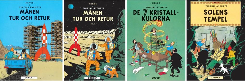 Fyra album med Tintin (2020) tidigare utgivna av Kartago. ©Cobolt
