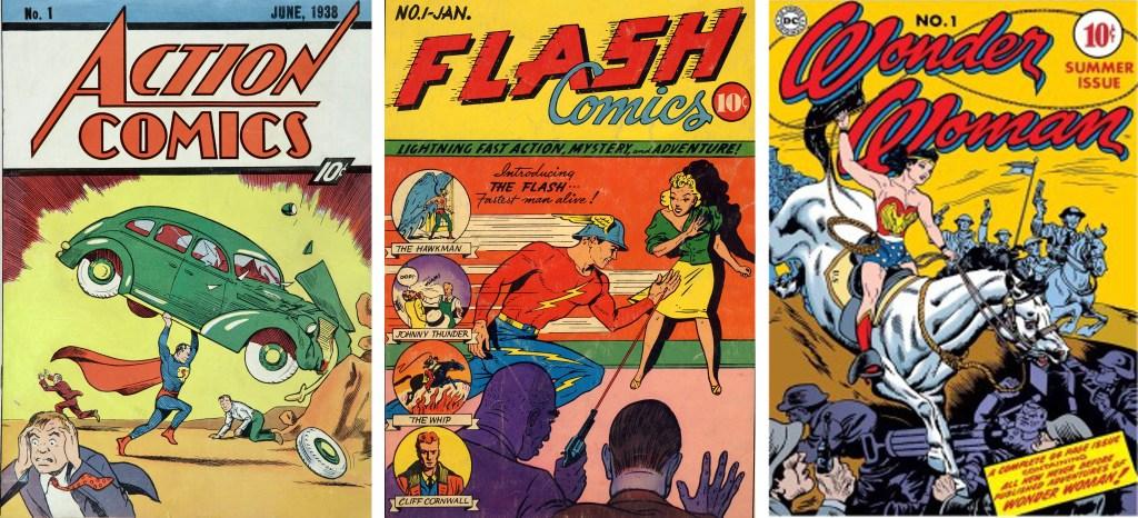 Action Comics med Superman, Flash Comics med The Flash och första numret av Wonder Woman. ©DC Comics