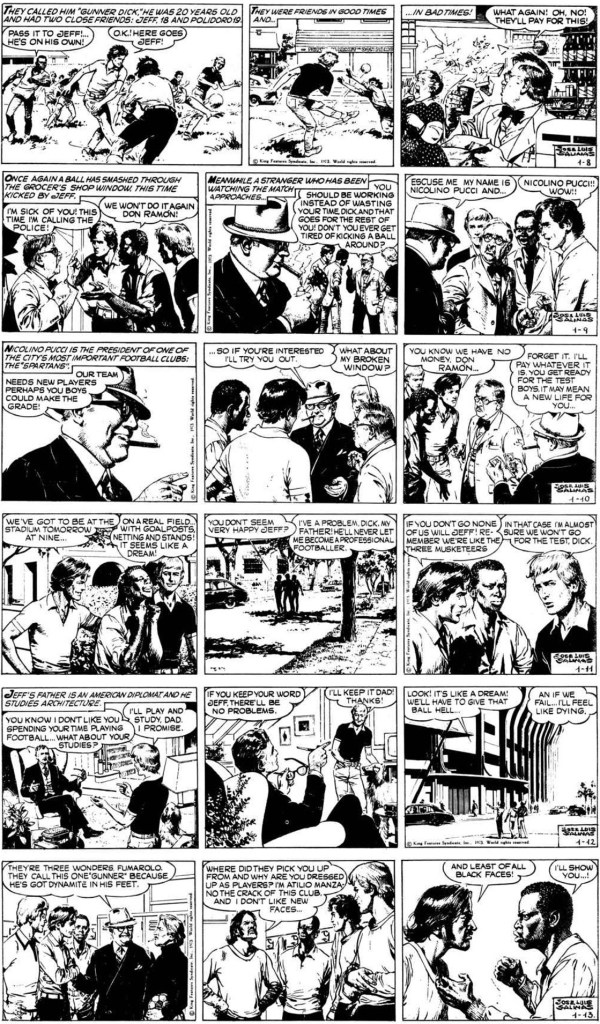 Inledande dagsstrippar i original till Gunner-episoden, från 8-13 januari 1973. ©KFS