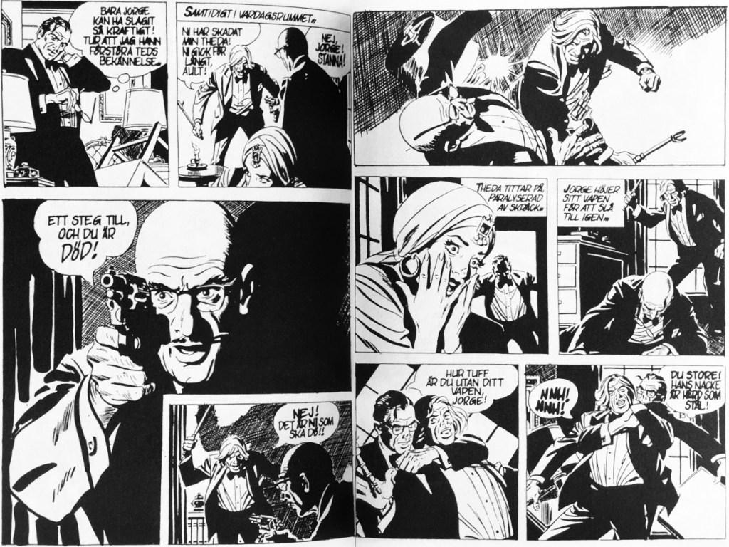 Ett uppslag med Rip Kirby och episoden Medium i fara, ur Comix pocket nr 6. ©Bulls