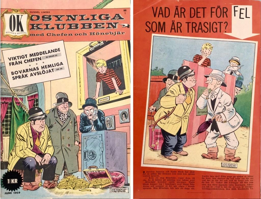 Omslagets fram- och baksida till Osynliga klubben nr 1. ©Å&Å