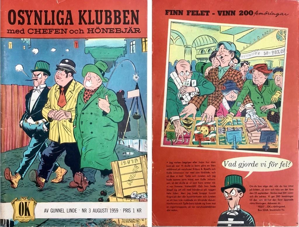 Omslagets fram- och baksida till Osynliga klubben nr 3. ©Å&Å