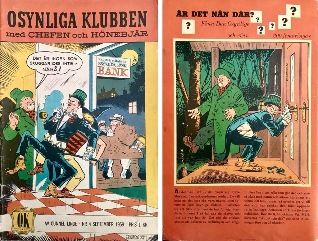 Omslagets fram- och baksida till Osynliga klubben nr 4. ©Å&Å