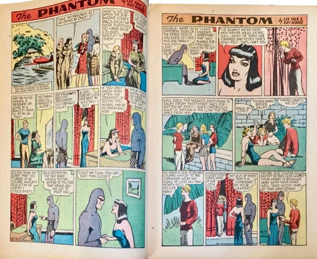 Ett uppslag med Fantomen av Lee Falk och Ray Moore, ur King Comics #78 (1942), ursprungligen publicerade som söndagssidor 6 och 13 juli 1941. ©KFS