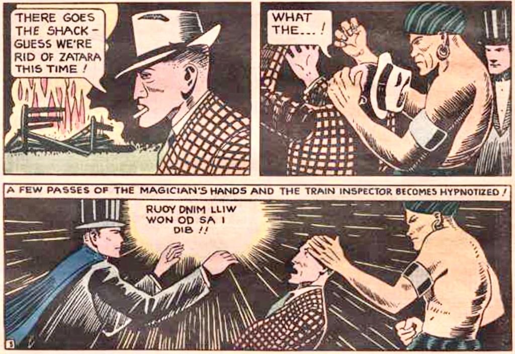 En typisk Mandrake-kopia var Zatara Master Magician av Fred Guardineer, komplett med mörkhyad assistent, Tong. Han debuterade i Action Comics #1 (1938). ©DC/National