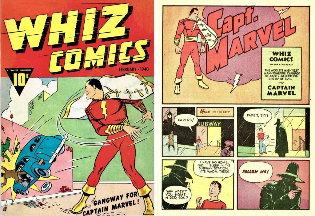Omslag till Whiz Comics #2 (1940) och inledande sida med Captain Marvel. ©Fawcett
