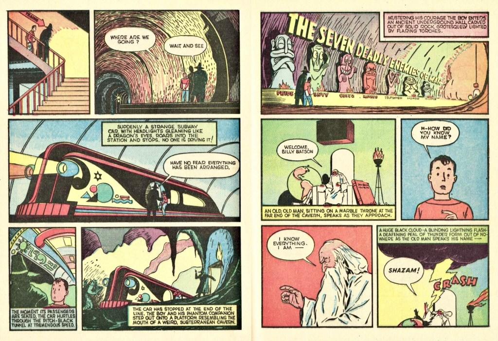 Ett uppslag med Captain Marvel ur Whiz Comics #2 (1940). ©Fawcett