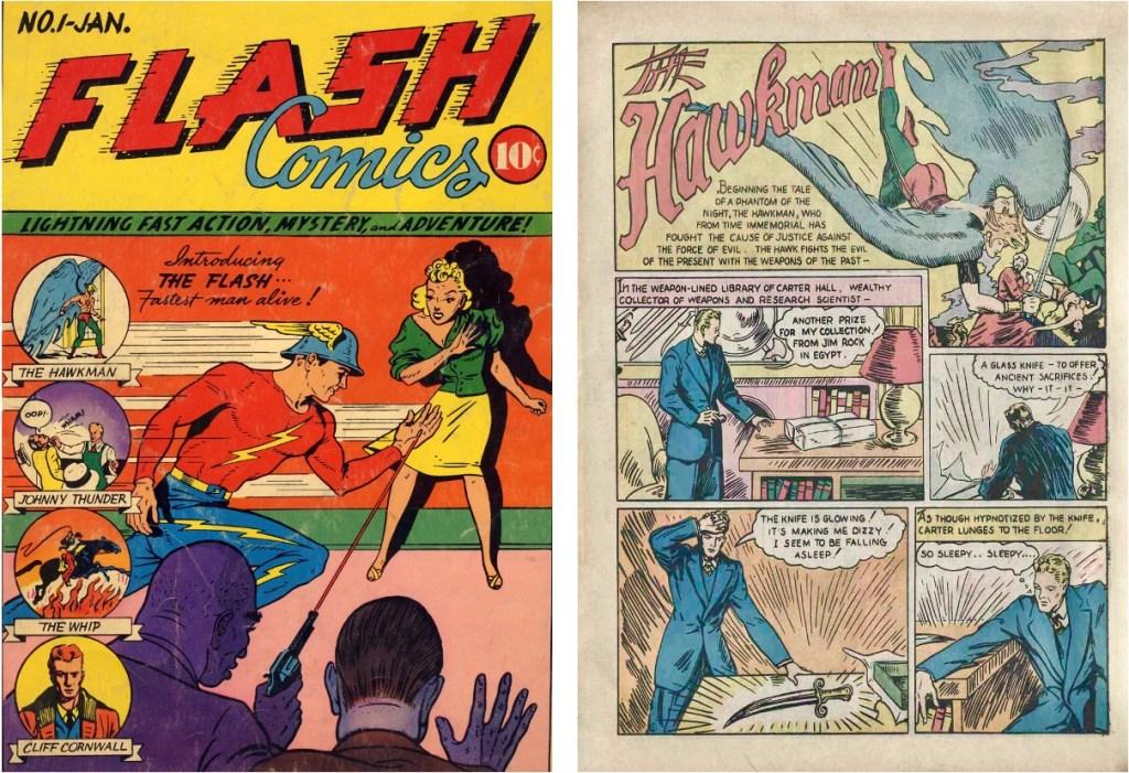 Både The Flash och The Hawkman debuterade i Flash Comics #1 (1940). ©DC/National