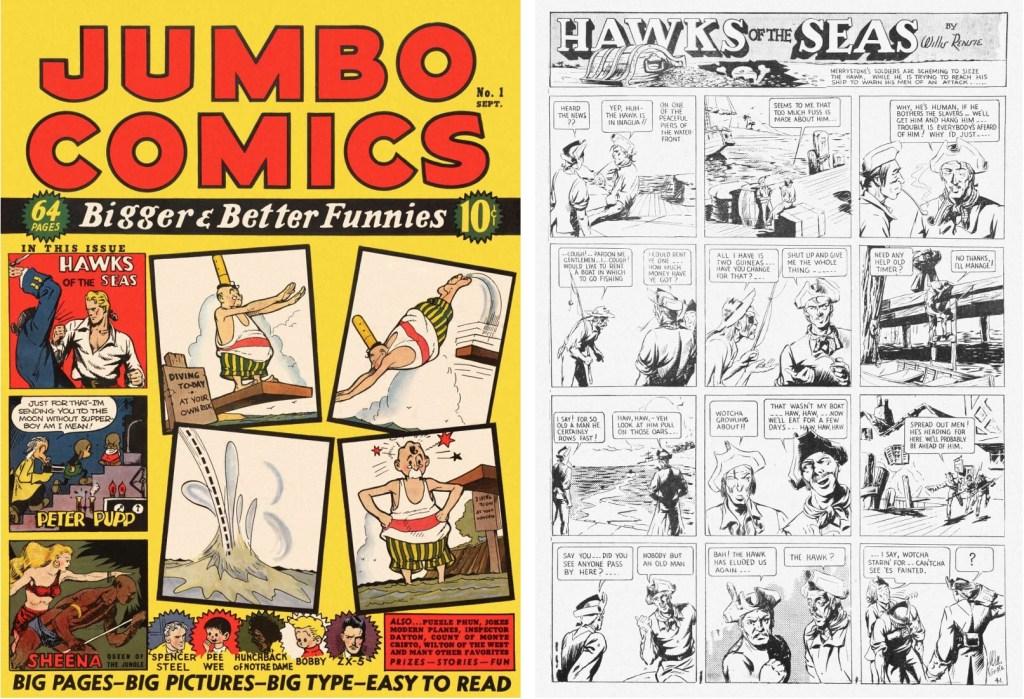 Omslag till Jumbo Comics #1 (1938), och inledande sida med Hawks of the Seas. ©Fiction House/RAP