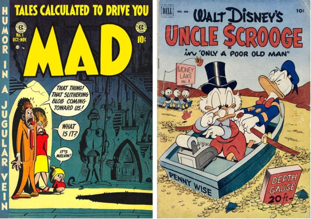 Omslag till Mad #1 (1952) och Four Color Comic #385 (1952). ©EC/Dell
