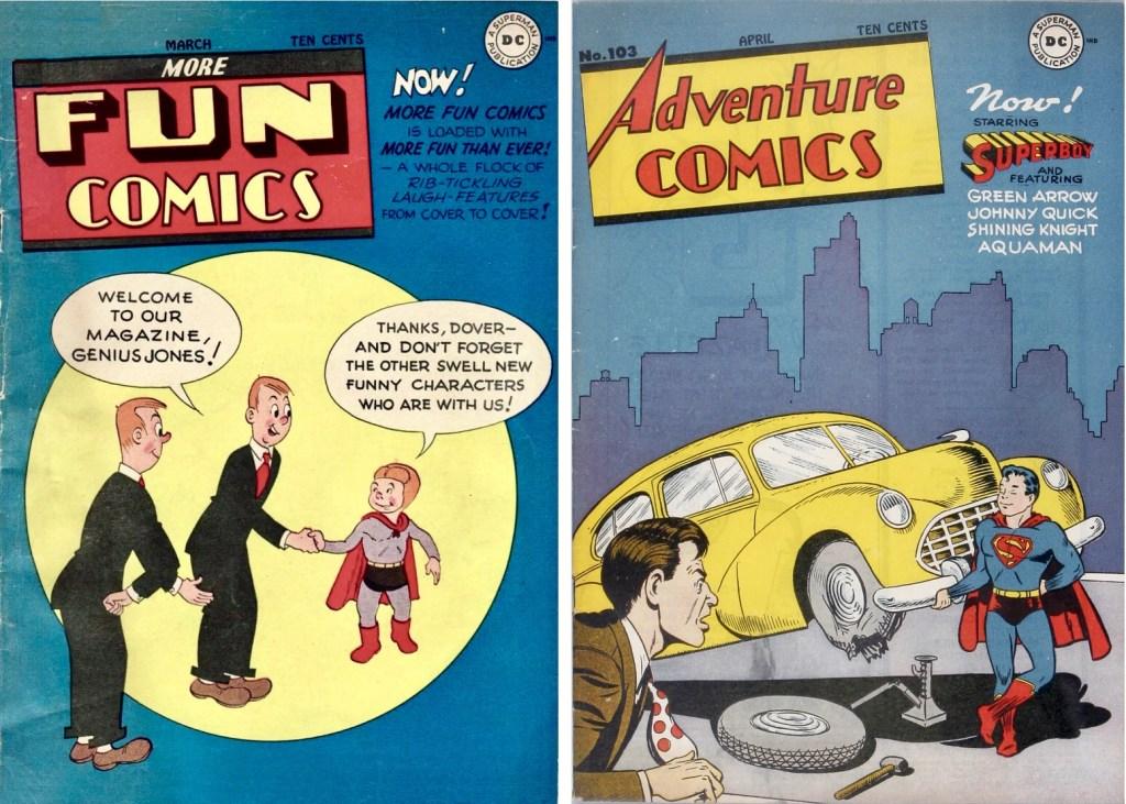När More Fun Comics #108 (1946) utkom saknades Green Arrow, Superboy och Aquaman som flyttat över till Adventure Comics #103. ©DC/National