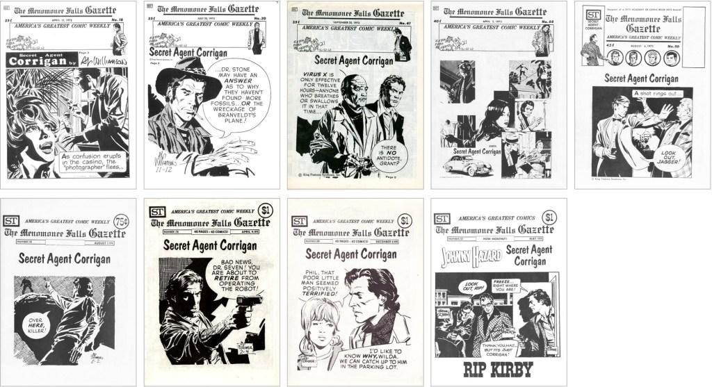 Secret Agent Corrigan fanns med på omslaget till MFG #18, #30, #41, #68, #86, #138, #174, #208 och #222. ©Street Enterprises